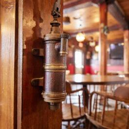 An antique brass faucet